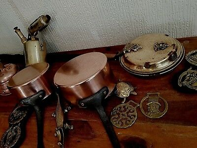 Collection Of Fireplace Items - Copper & Brass Mixed Lot Inc Copper Pans Etc .