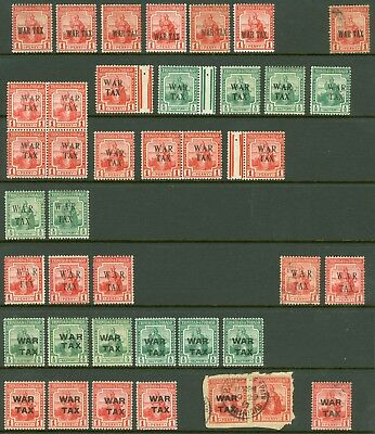 Trinidad & Tobago War tax issues mint & used selection on 2 stock cards. 80+...