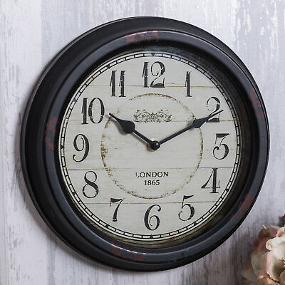 Black wall clock shabby antique chic vintage style pretty round home decor gift