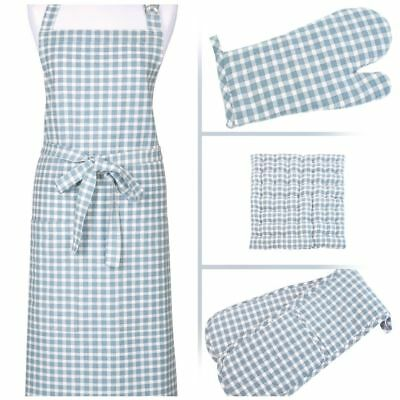Portland Blue Check Double Oven Gloves / Cotton Apron / Gauntlet or Seat Pads