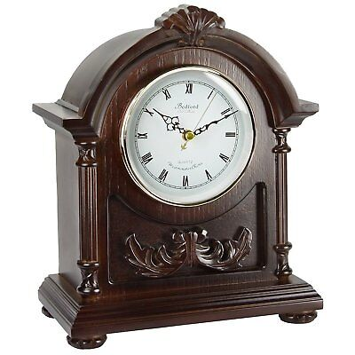 BEDFORD COLLECTION WOOD DARK FINISH MANTEL MANTLE DESK SHELF CLOCK with 4 CHIME