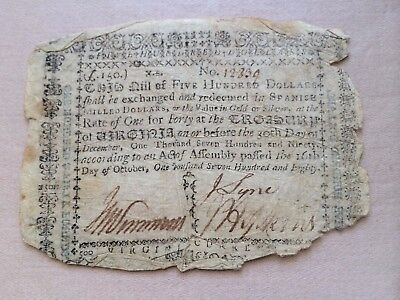 $500 Virginia Colonial Currency October 16, 1780 Lyne & Simmons Spanish Milled $