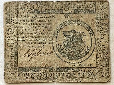 Continental Currency One Dollar February 17, 1776 Rev War Issue