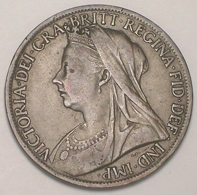 1901 UK Great Britain British One 1 Penny Old Victoria Coin VF