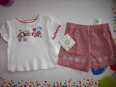 7af92de4a36 Little Me Outfit Baby Infant Girls 2pc Short Set Sz 6 Mos Very Cherry Red  Check