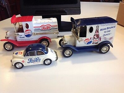 LOT OF 3 Vintage Pepsi-Cola Golden Classic Die-Cast Metal Gift Banks and Car