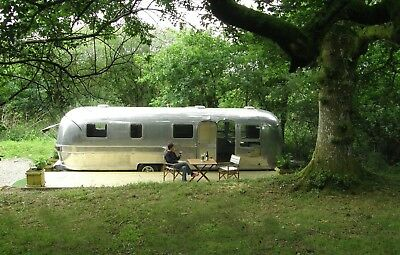Retro Airstream Caravan Glamping short breaks and holidays Brecon Beacons Wales