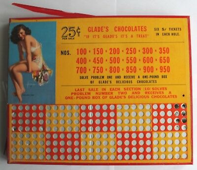 1940s Punch Board, Glade's Chocolates, Pin Up