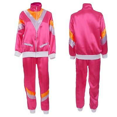 Ladies Pink Scouser Shell Suit 80S Fancy Dress Costume Jimmy Hen Party Outfit