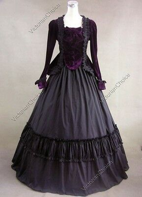 Civil War Period Ball Gown Steam Punk Velvet Reenactment Purple Black Costume L
