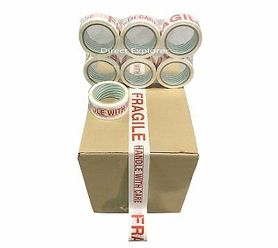 6 Rolls FRAGILE Carton Packing Sealing Tape 2 Inch x 55 Yards- 165 ft Ea Roll