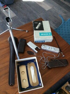Minox Model B Miniature Camera Germany Case, Chain  Tripod & Flash Orig Box
