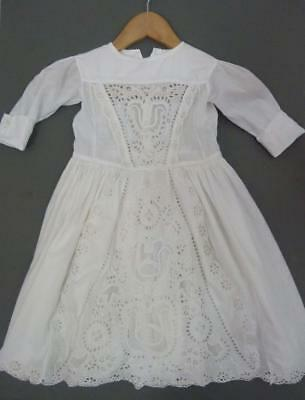 Original Victorian child's dress with fine openwork detailing - 25'' long