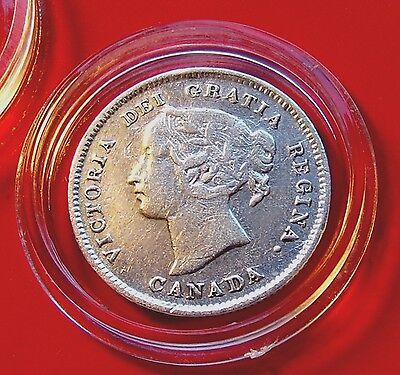 RARE 5 cent piece, 1894 Victoria CANADA 5 Cents, Great hair detail A SCARCE ONE!