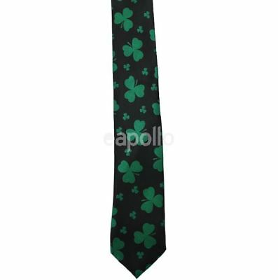 Unisex Novelty Fancy Dress Black and Green Leaf Clover Irish Large Tie New