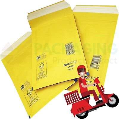 AROFOL GENUINE GOLD BUBBLE PADDED ENVELOPES MAILERS BAGS SIZE 1 - 100x165mm