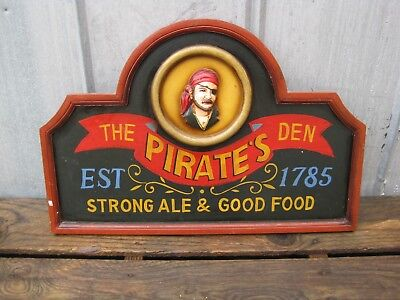 "24"" The Pirate's Den - Strong Ale and Good Food - Wooden Hanging Wall Sign B7965"