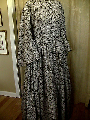 Civil War Victorian Cotton Day Dress Handmade Tan w/Brown Swirl Print
