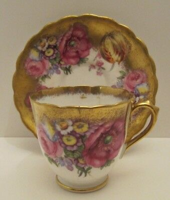 Antique Floral Tea Cup & Saucer Set  Fine Bone China - England Hand Painted duo