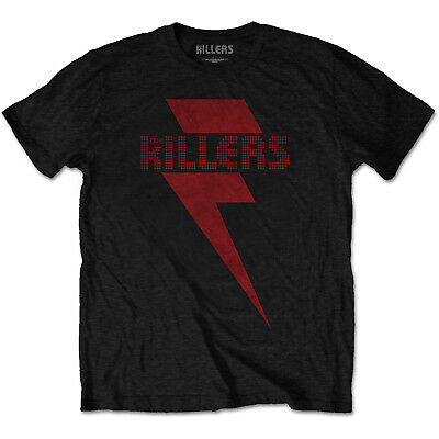 The Killers Mens T-SHIRT Red Lighting Bolt New Official Black Cotton MD, 2XL