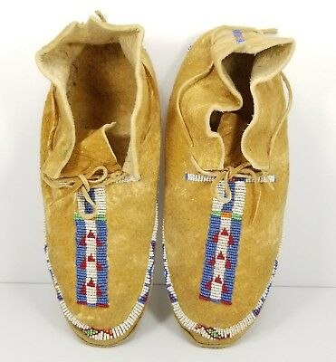 Vintage Native American Hard Soled Beaded Leather Moccasins