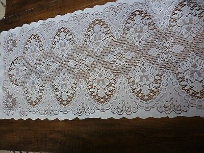 Amazing lace style runner, white, floral design table centre 31 x 90cm
