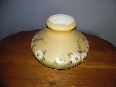 Antique  Victorian Milk Glass HANGING LAMP SHADE HAND-PAINTED