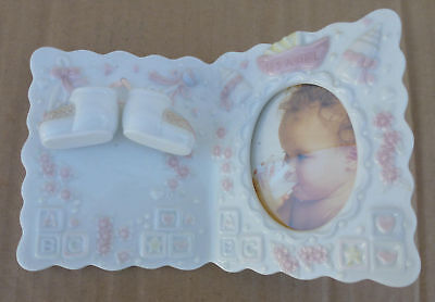 """Porcelain Baby Photo Frame """"It's A Girl"""" Nursery Decor picture shower gift pink"""
