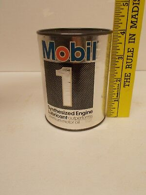 """Vintage MOBIL """"Mobil One"""" Motor Oil Tin Can Coin Bank"""
