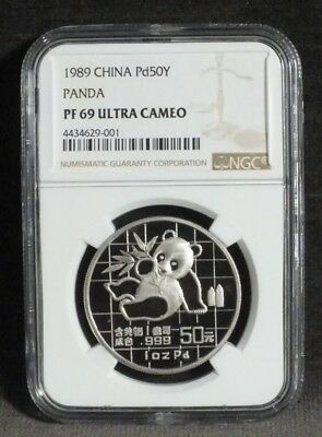 1989 1 oz Palladium Chinese Panda PF69 Ultra Cameo 50 Yuan China Display