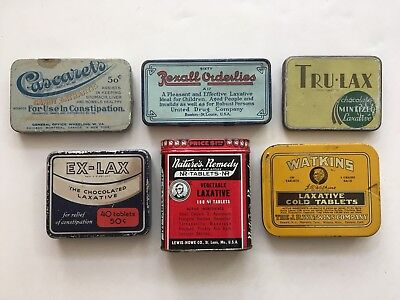Vtg. Tin Litho Advertising-medicine-LAXATIVE Can, lot of 6. Great collection. c