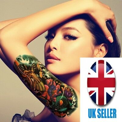 Color Fish Tattoo Stickers Flower Arm Tattoos Waterproof Temporary Tatoo