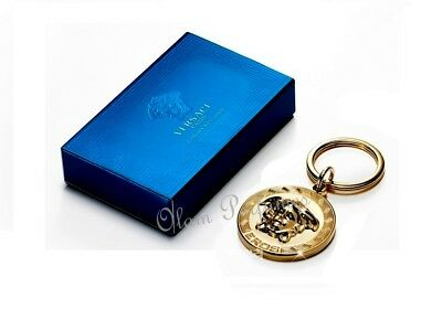 Versace Eros Parfum Luxury Gold Keychain Medusa Logo with ring * New in Box *