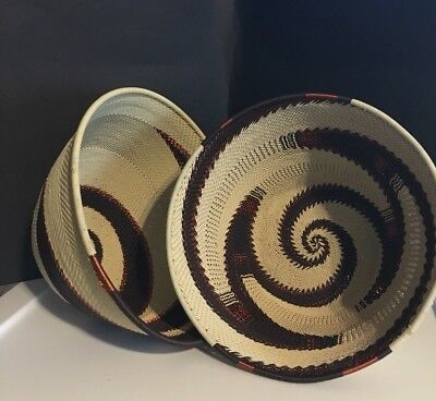 """Hausa Nigeria African Tight Weave Basket Bowl Brown, Copper Swirl Large 14"""""""