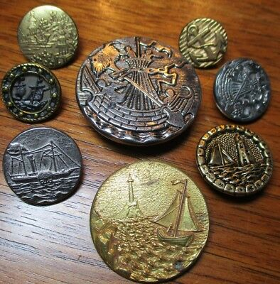"Antique Lot of 8 Picture Buttons~""SHIPS TRANSPORTATION SCENES"" Vintage Metal"