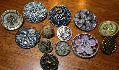 "Antique Lot of 13 Picture Buttons~""FLORAL-PLANTS"" Tinted/Brass Vintage Metal"