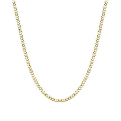 Yellow Gold Over 925 Sterling Silver Cuban Two Tone Diamond Cut Chain Necklace