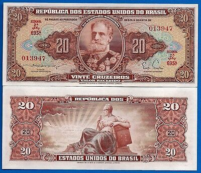Brazil P-160 20 Cruzeiros Year ND 1951-1961 Uncirculated Banknote