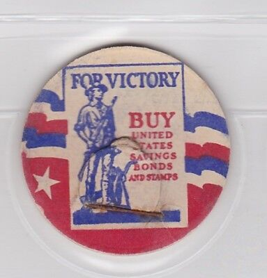 """Patriotic milk cap- For Victory """"Buy United States Savings Bonds and Stamps """""""