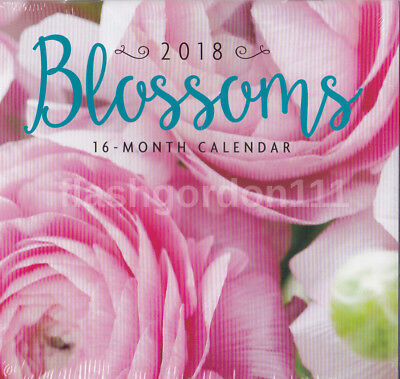 1 - 2018 BLOSSOMS 16-month MINI Wall Calendar SMALL Flowers ~~~~~~~~~~~----- NEW
