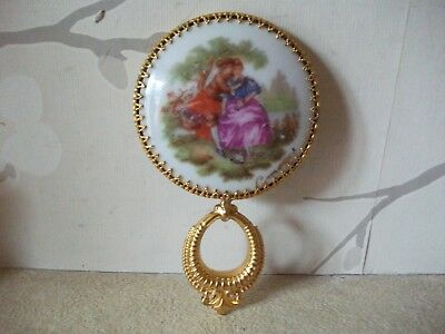 Vintage Ladies Ornate Brass Gilt Limoges Porcelain Pocket Hand Mirror
