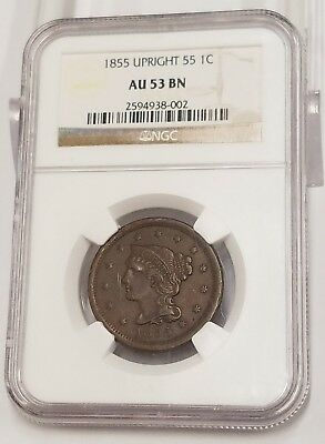1855 Upright 55 Braided Hair Large Cent NGC AU53 BN