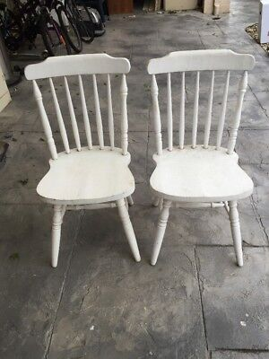 Pair Of Vintage chairs wooden white rustic shabby display