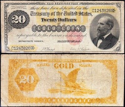 "VERY NICE *RARE* 1882 $20 ""Garfield"" GOLD CERTIFICATE! FREE SHIPPING! C12438269"