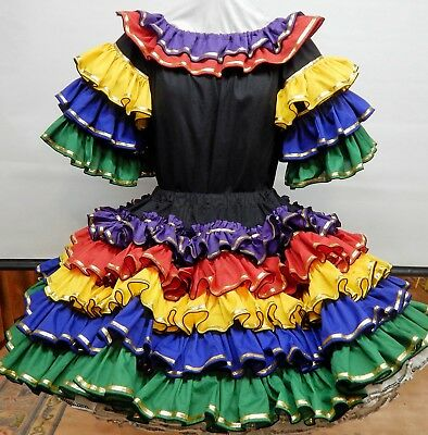 2 Piece Bright And Colorful Fiesta Square Dance Dress