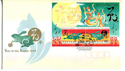 Christmas Island 1999 Year of the Rabbit MS FDC