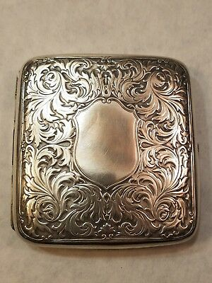 Very rare Antique STERLING SILVER cigarette case with mercury dime latch 88.6g