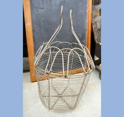 """antique WIRE EGG GATHERING BASKET w/HANDLES FARM/CHICKENS easter 8 x 8"""""""