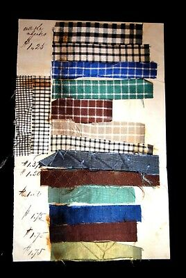 1800s antique ORIG FABRIC SAMPLE CARD PRICES check pattern STORE DISPLAY textile