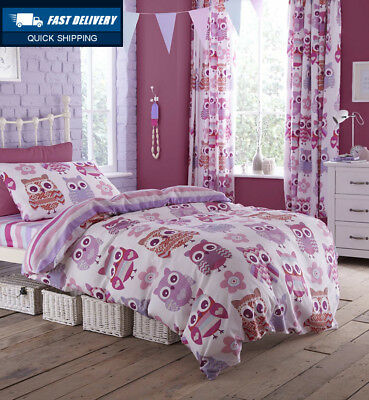 Catherine Lansfield Owl Double Bed Fitted Sheet - Multi-Colour